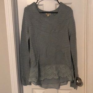 Sage sweater with lace